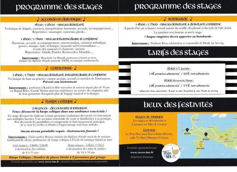 Stages Instruments musiques trad et Fest noz