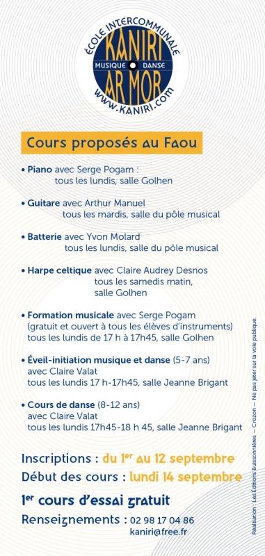 Flyer     Cours proposés au Faou