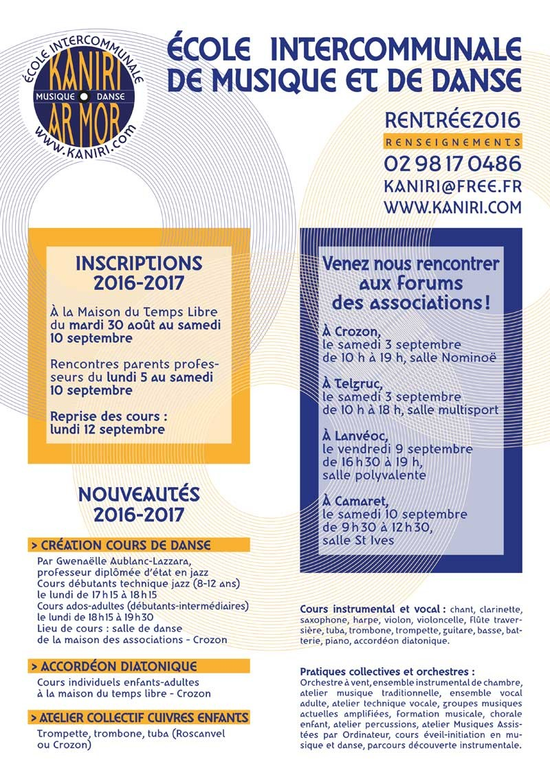 Inscriptions / ré inscriptions 2016-2017